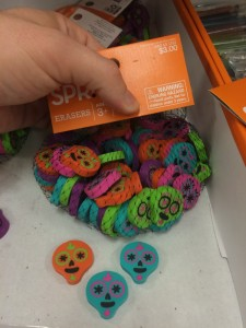 How many skull erasers are there in the bag?