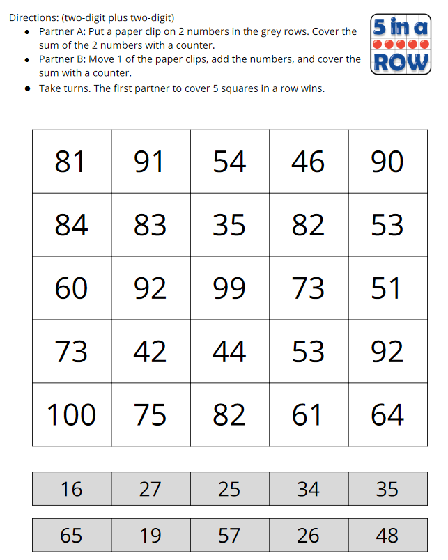 Five in a Row Gameboard. A grid of 25 sums students try to cover. There are 2 rows of numbers along the bottom of the page that are the addends used to create the possible sums.