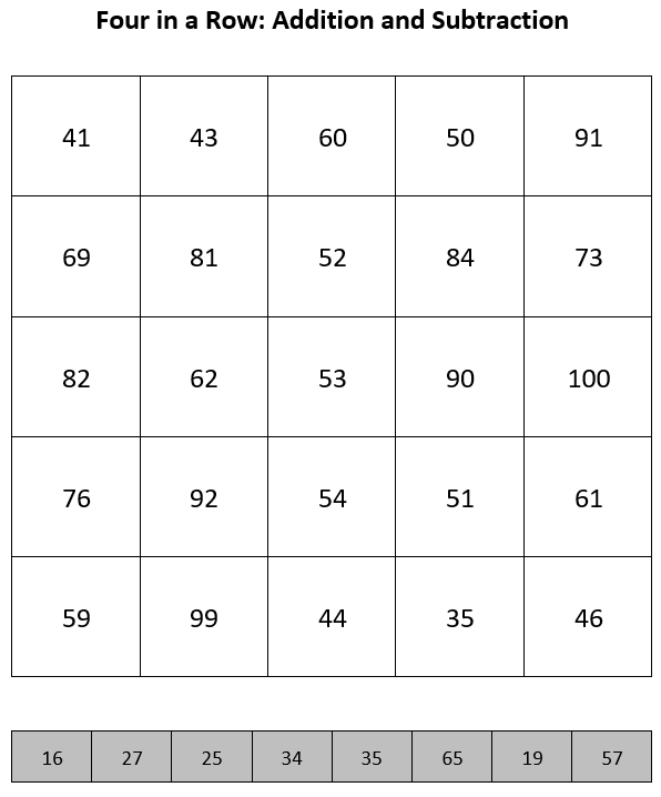 Modified Five in a Row game board