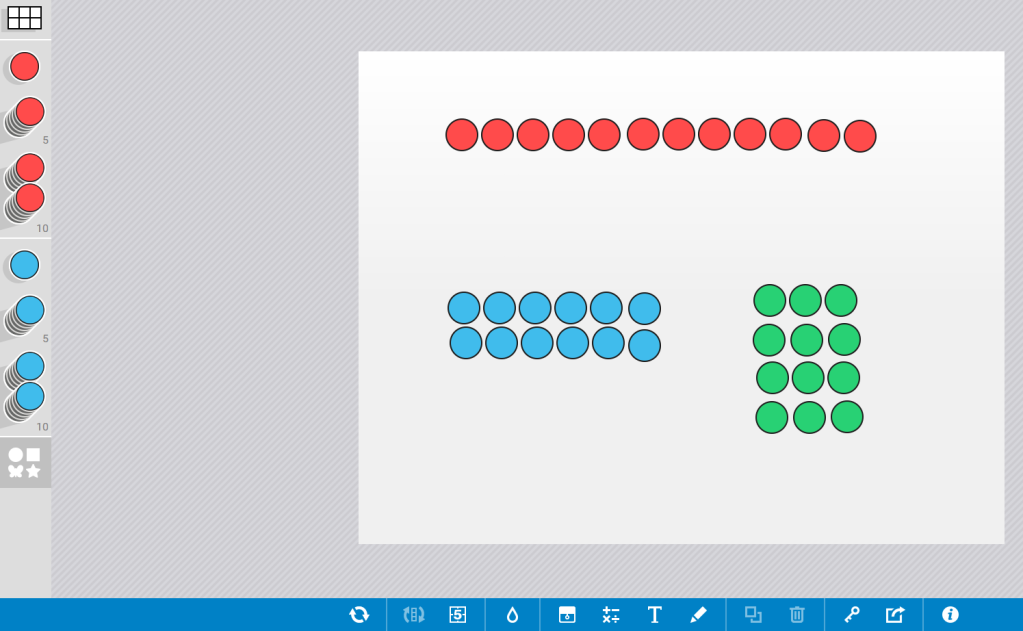 Screenshot of Number Frames app. The workspace of the app shows 3 arrays: a 1 by 12, a 2 by 6, and a 3 by 4.