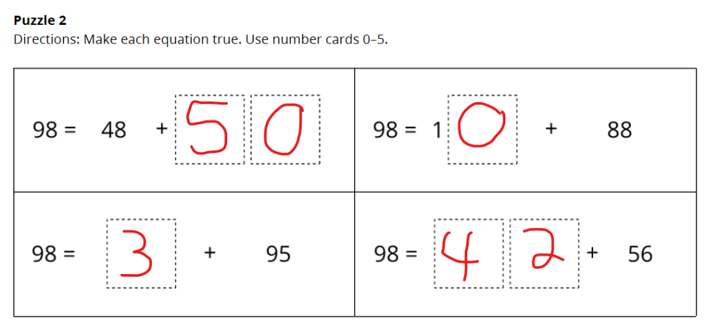 Screenshot of a Number Puzzle showing that there is an error in the puzzle