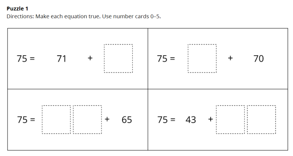 A screenshot of Puzzle 1 from the Number Puzzles center. There are four addition equations. Each equation starts with the number 75. Digits, represented by blank boxes, are missing from one addend in each equation.